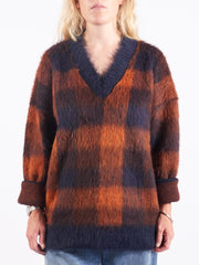 Acne-Studios-Navy-Orange-Checked-Sweater-On-Body