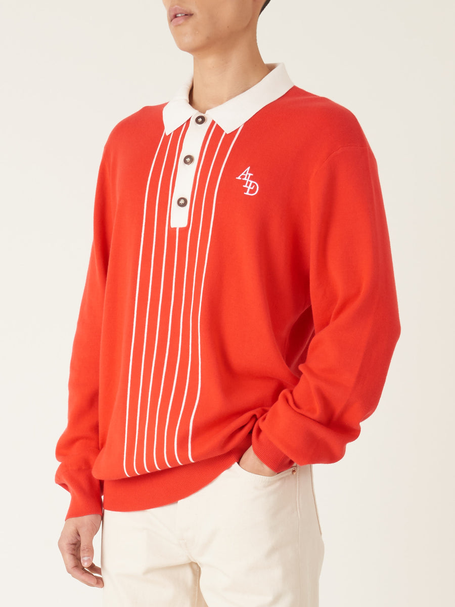 Aimé-Leon-Dore-Mineral-Red-L/S-Stripe-Rugby-Polo-on-body