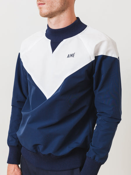 White / Navy Water Repellent Pullover
