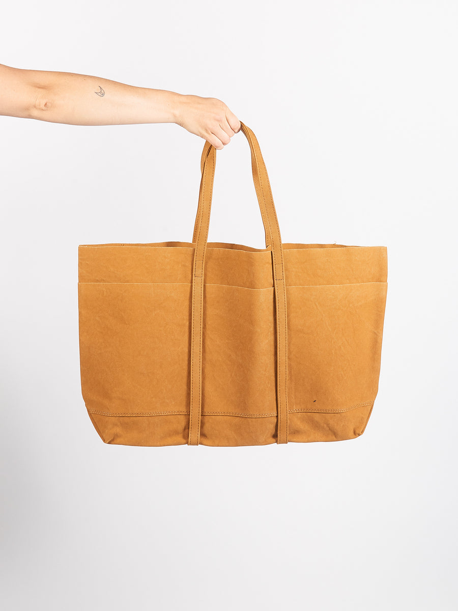 Mustard Large Washed Canvas 6 Pockets Tote
