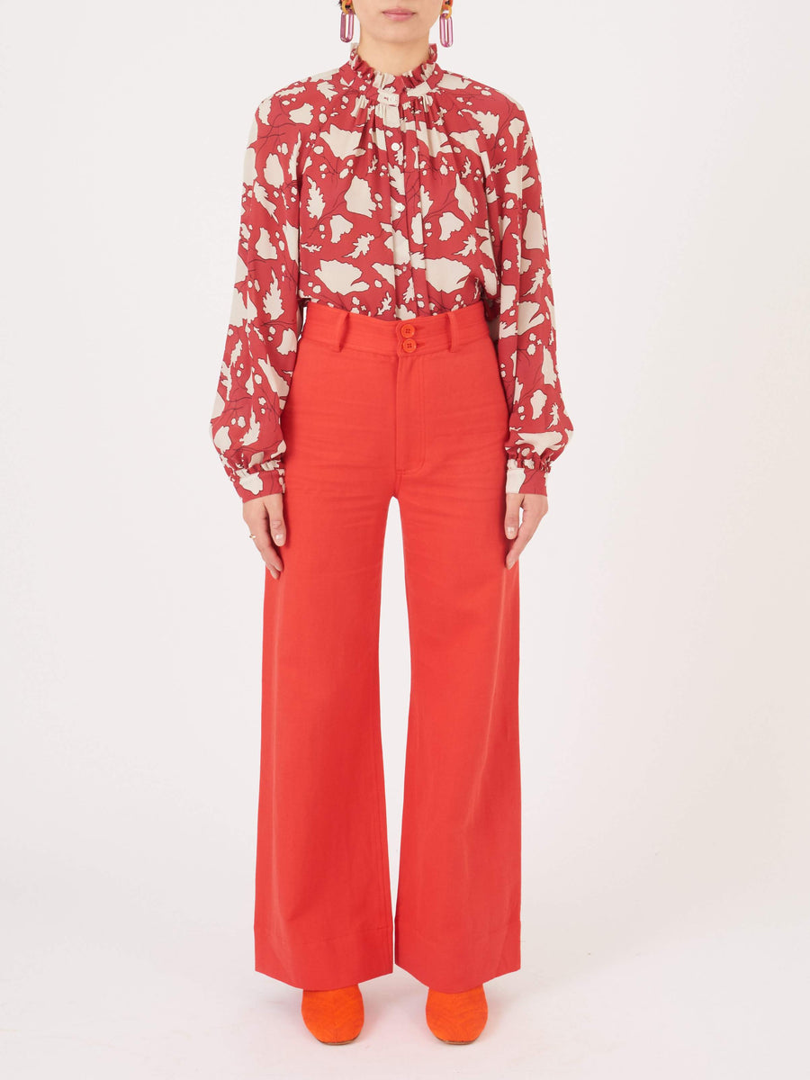 Apiece-Apart-Red-Long-Merida-Pant-on-body