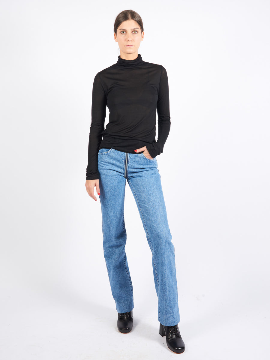 Black Bamboo Jersey Turtle Neck