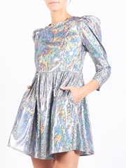 Antique Silver Holographic Square-Neck Mini Dress