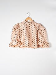 Beige Polka Dot Simple Ruffle Crop Top