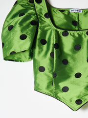 Green/Black Polka Dot Cap Dirndl Crop Top