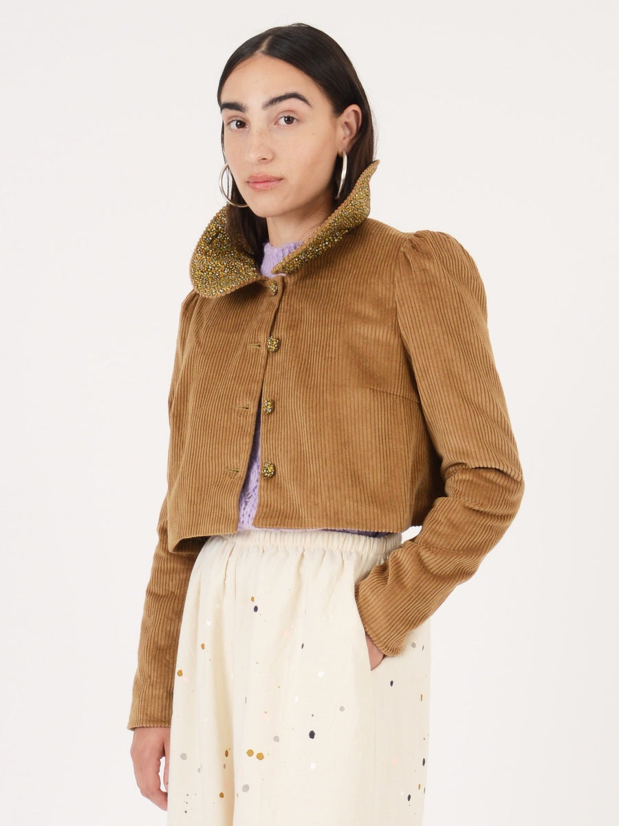 Batsheva-Brown-Short-Peter-Pan-Jacket-on-body