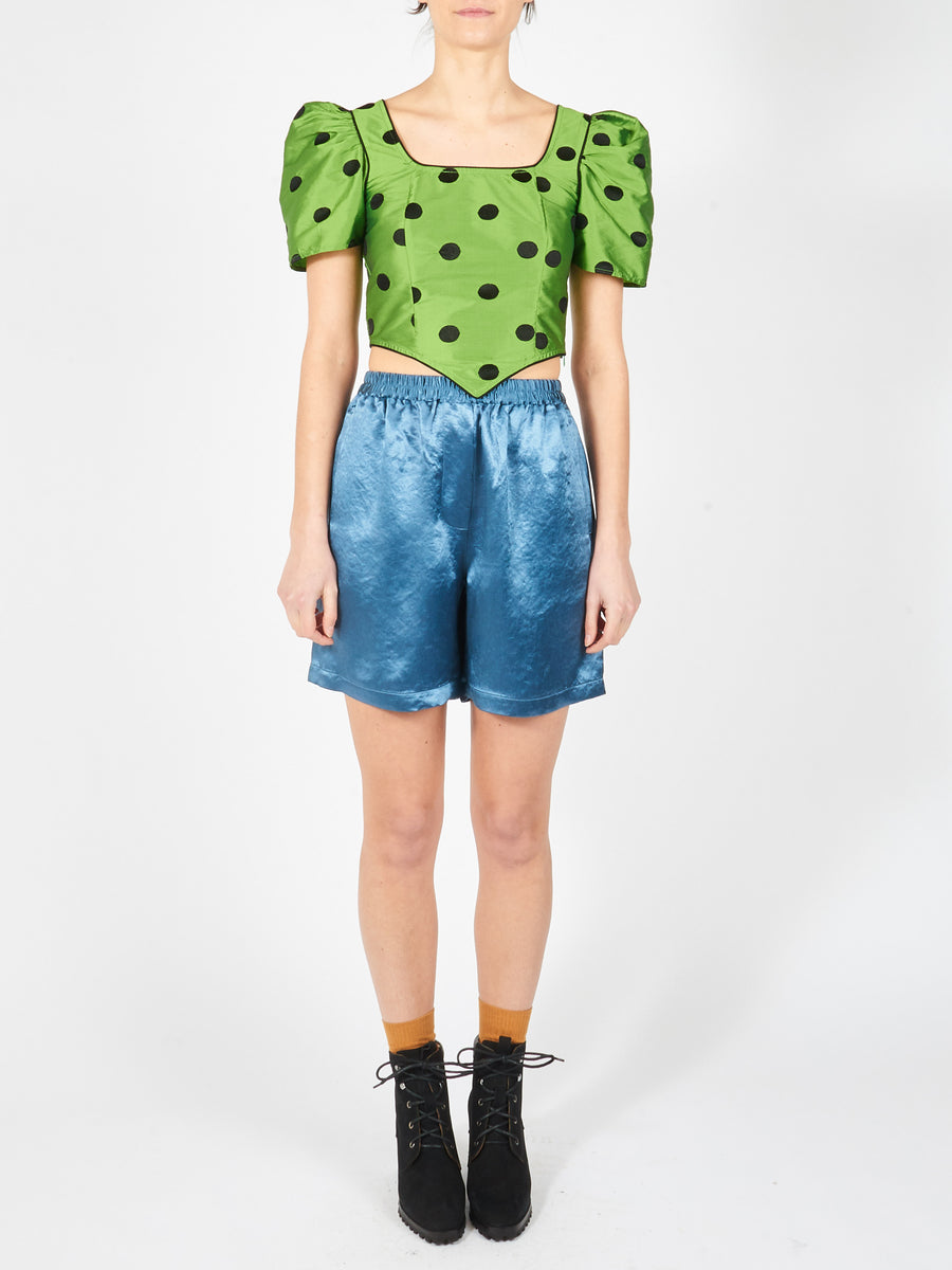 Batsheva-Green/Black-Polka-Dot-Cap-Dirndl-Crop-Top-on-body