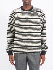 Black Stripe Fleece Crew