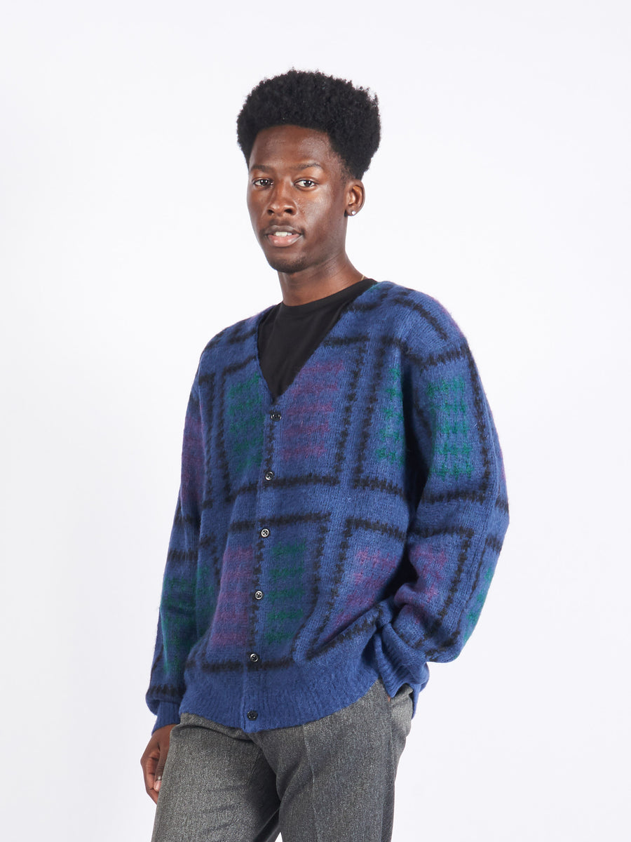 Blue Double Jacquard Cardigan