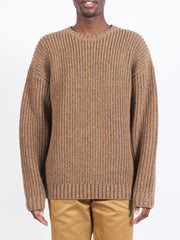 Brown Rib Crew Sweater
