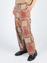 Panel Block Print Drawstring Trousers