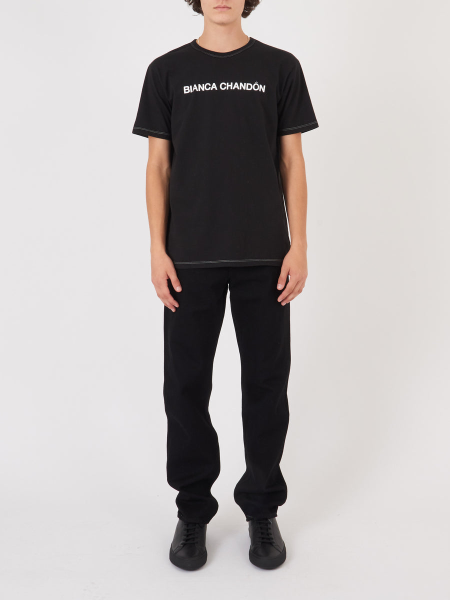 Bianca-Chandôn-Black-Contrast-Stitch-Logotype-T-Shirt-on-body