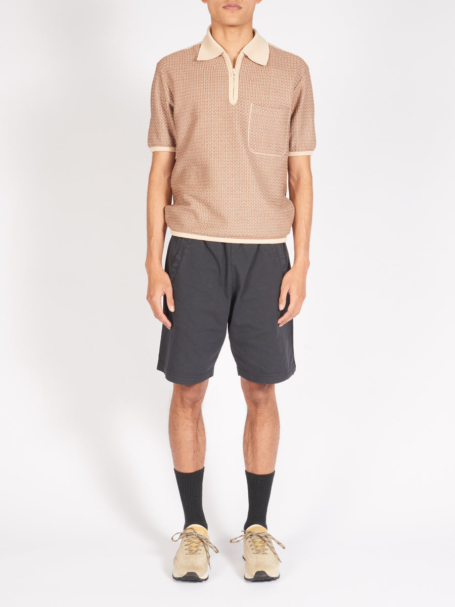 Ecru/Brown Knitted Jersey Polo