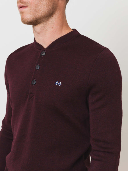 Burgundy Tricot Militaire Henley