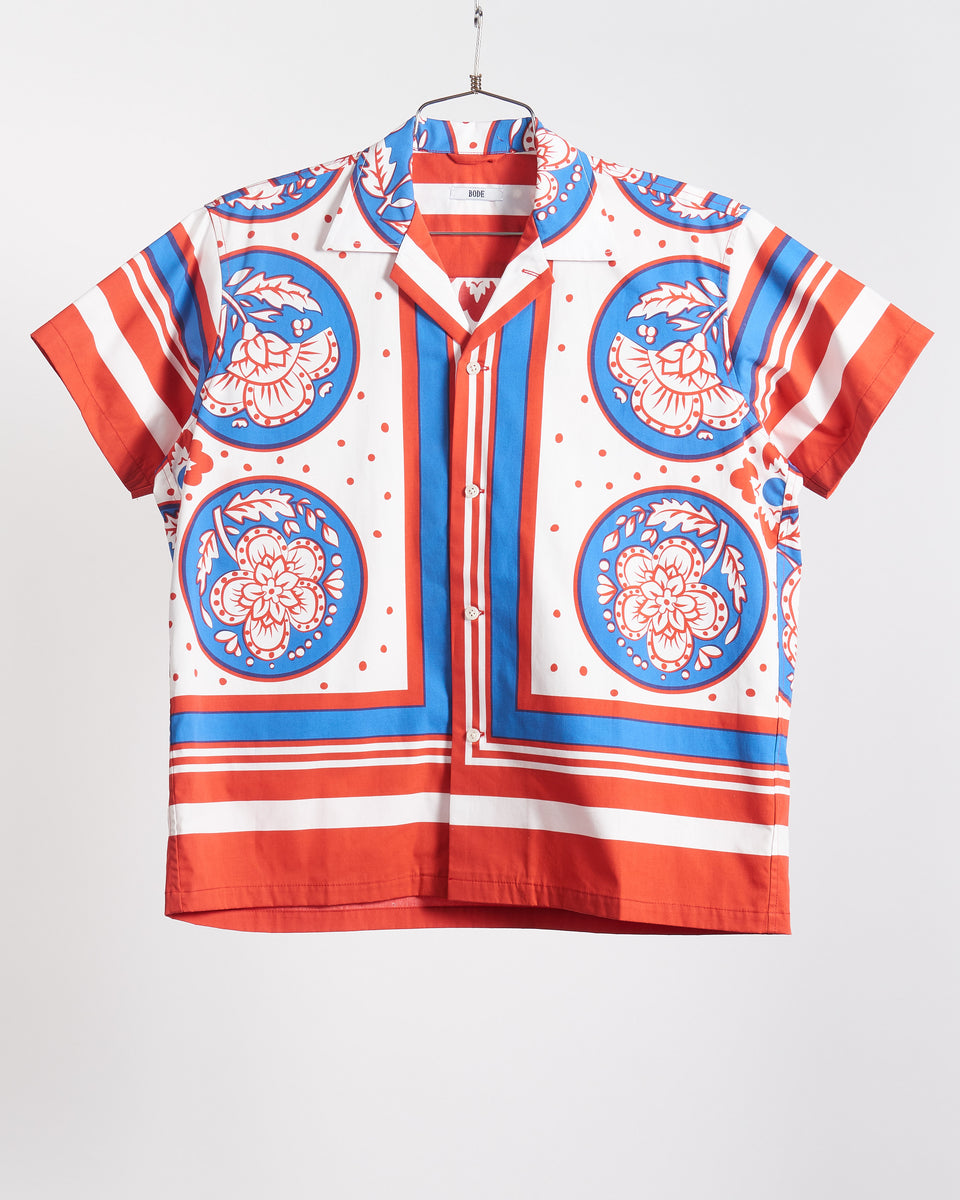 Blue/Red Oversized Block Print Shirt