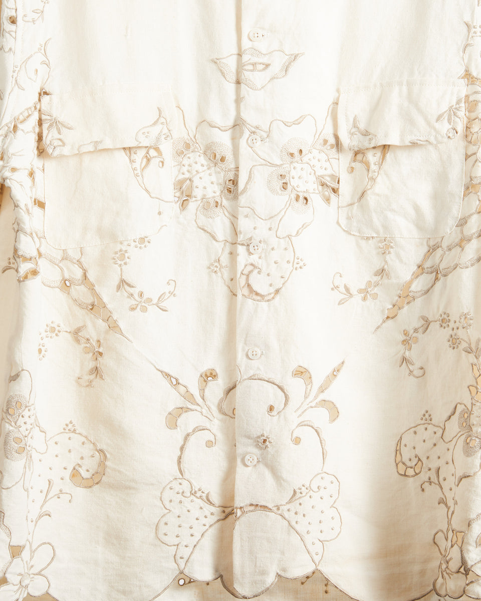 Tan One Of A Kind Linen Cutwork Lace Shirt