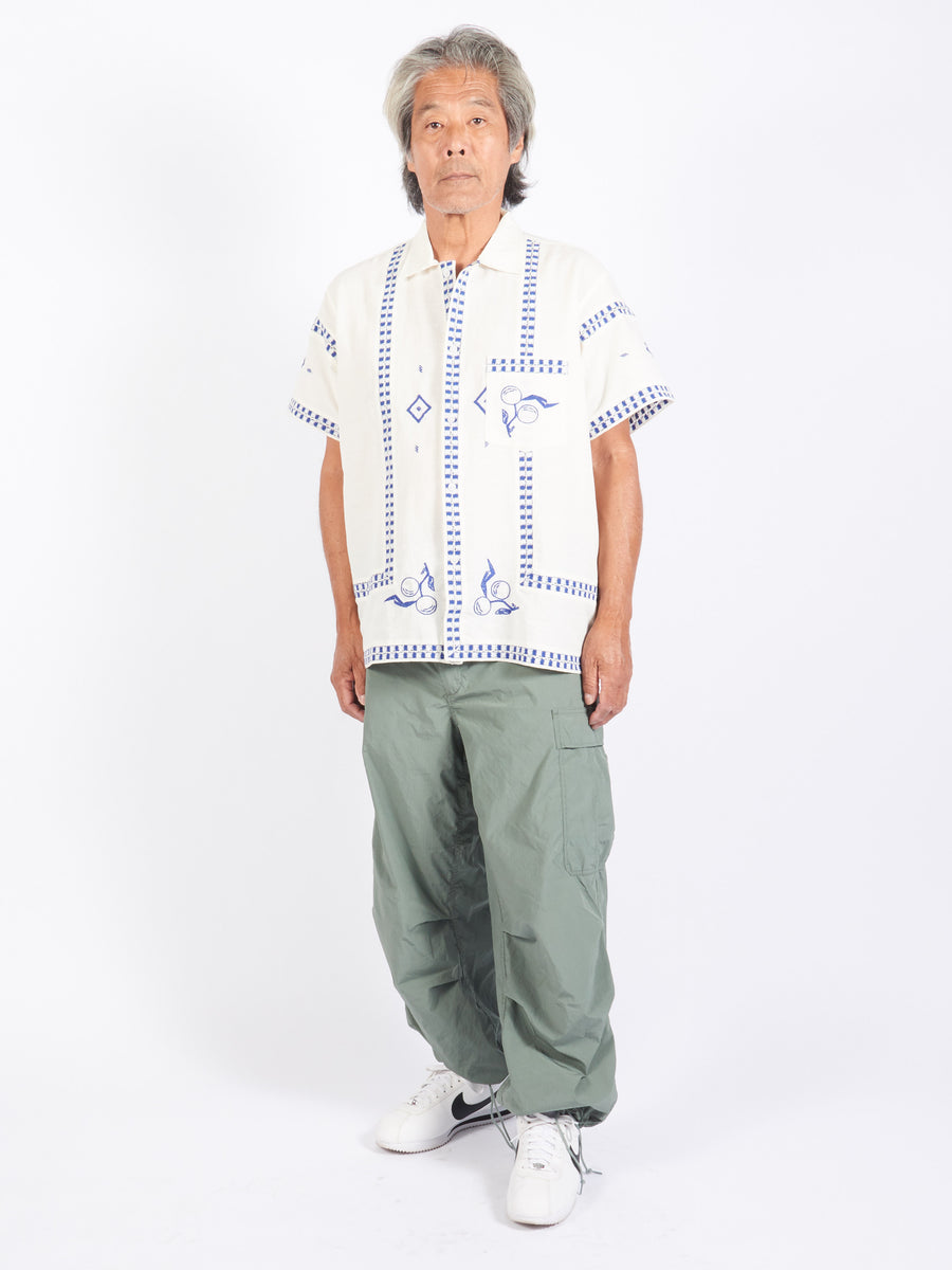 White Fruit Branch Bowling Shirt