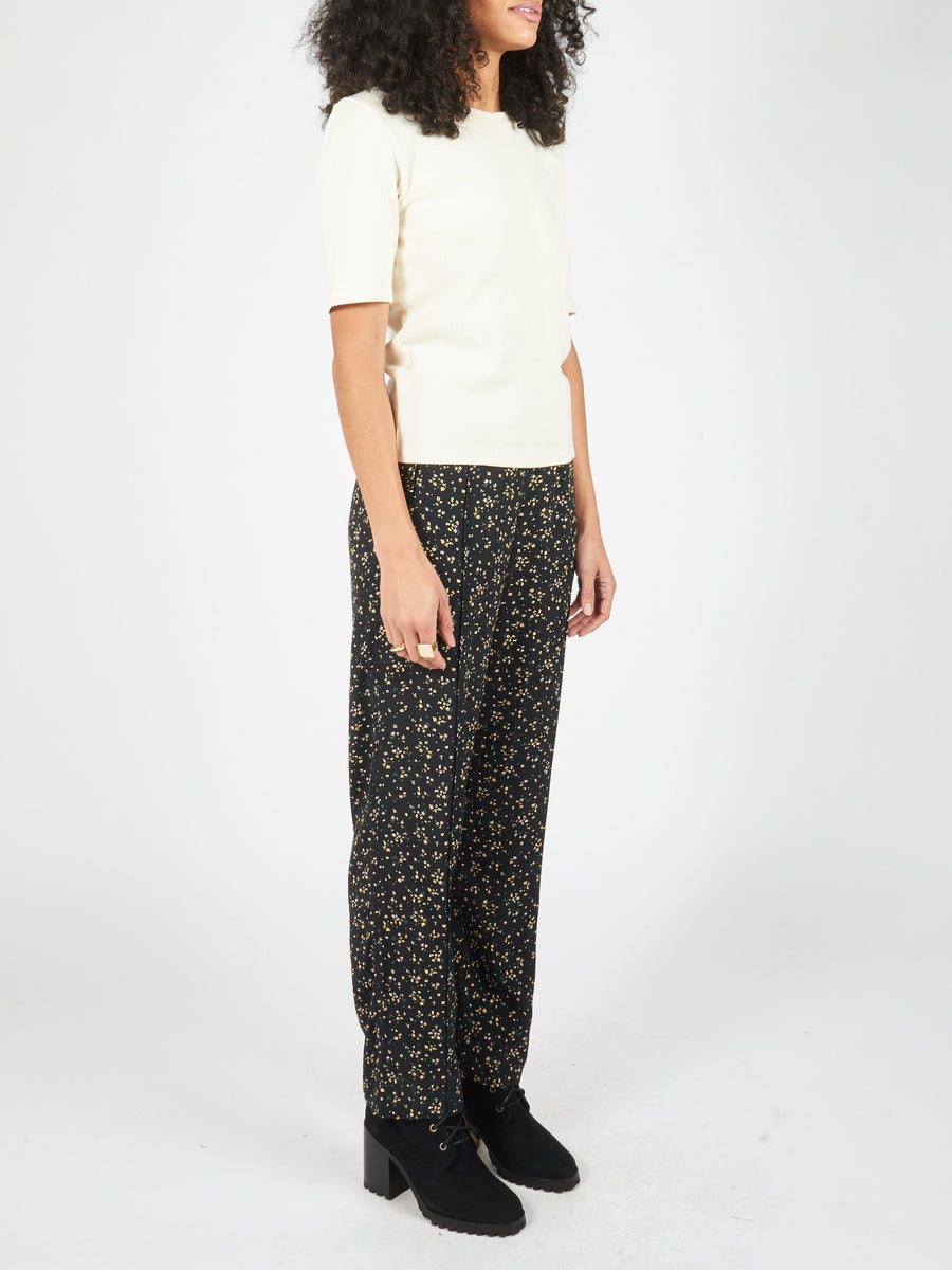 Ganni-Black-Printed-Pants-on-body
