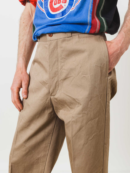 Beige Military Chino Trousers