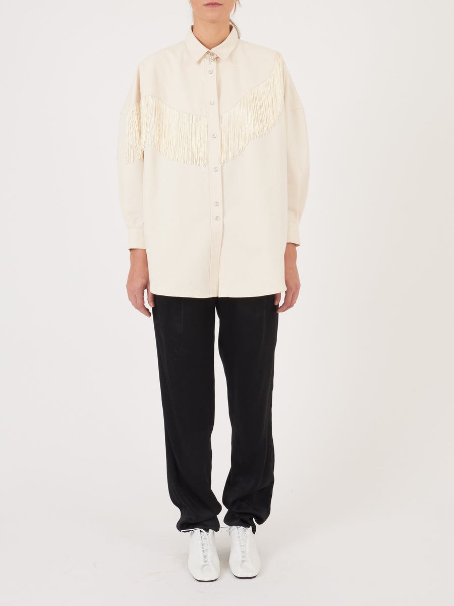 Church-and-State-Cream-Canvas-Big-Western-Fringe-Shirt-on-body
