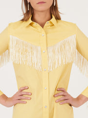 Church-and-State-Yellow-Western-Fringe-Shirt-Dress-on-body