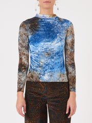 Collina-Strada-Blue/Brown-Velvet-Cardio-Mock-Neck-on-body