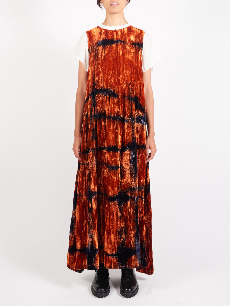 Collina-Strada-Orange-Grid-Sleeveless-Ritual-Dress-On-Body