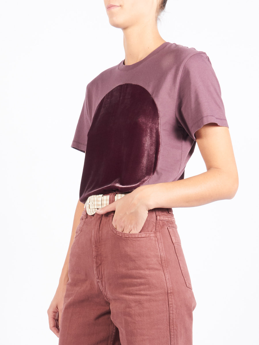 Brown Velvet Circle T-Shirt