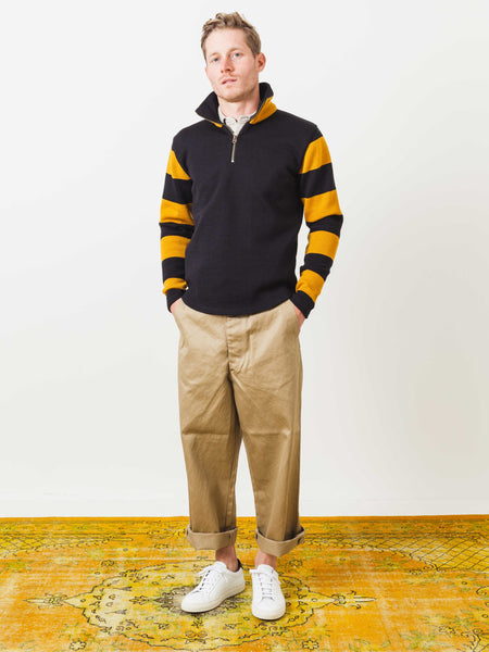 Black and Gold Quarter Zip Moto Sweater