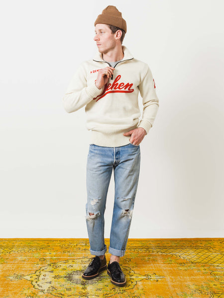 dehen-1920-off-white-1/4-zip-moto-sweater-on-body