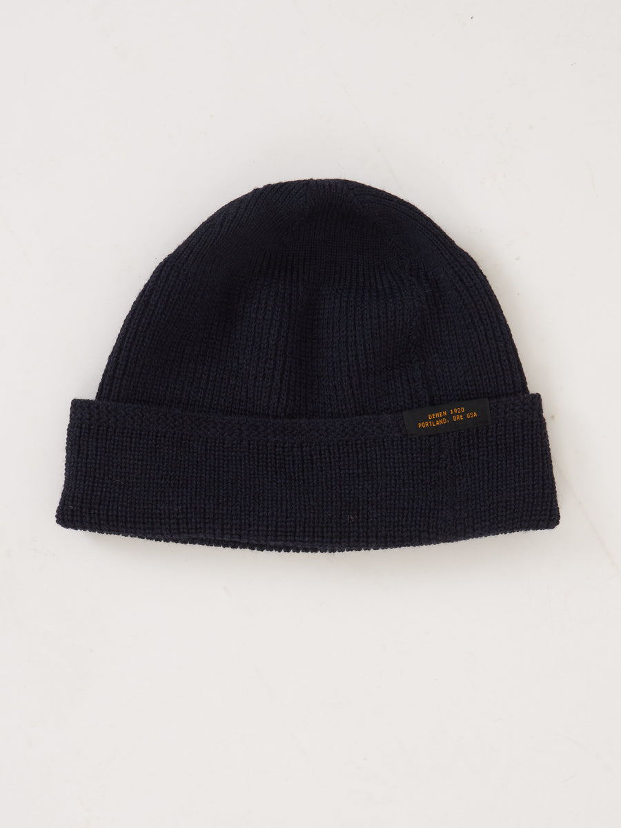 Dark Navy Wool Knit Watch Cap
