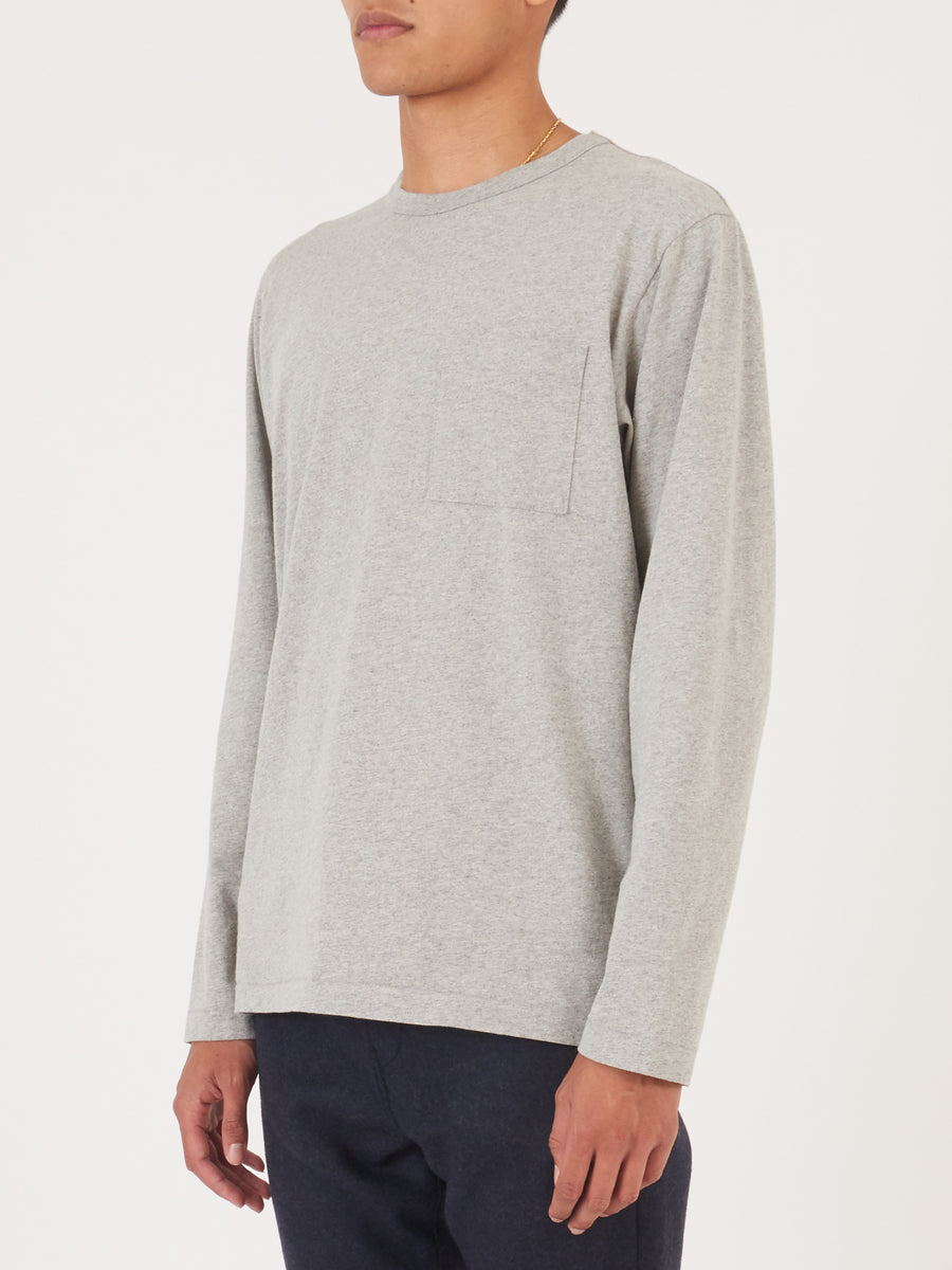 Heather Grey Heavy Duty L/S Pocket Tee