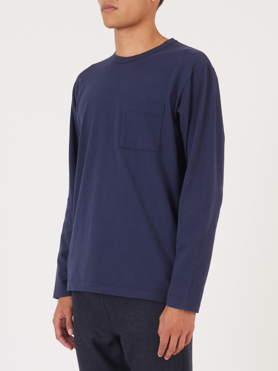 Navy Heavy Duty L/S Pocket Tee