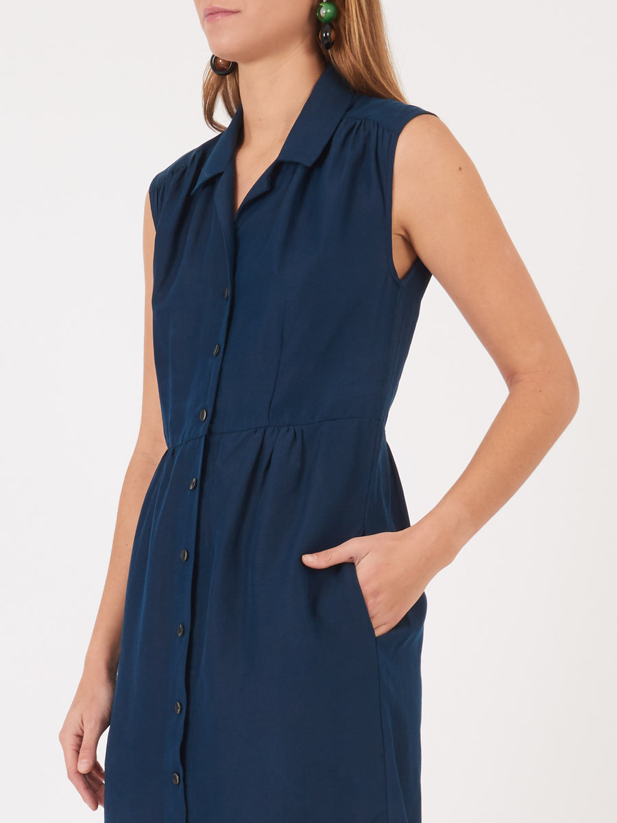 Frances-May-Houseline-Navy-Taylor-Shirt-Dress-on-body