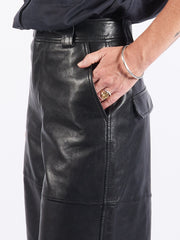 ganni-black-high-waist-leather-shorts-on-body