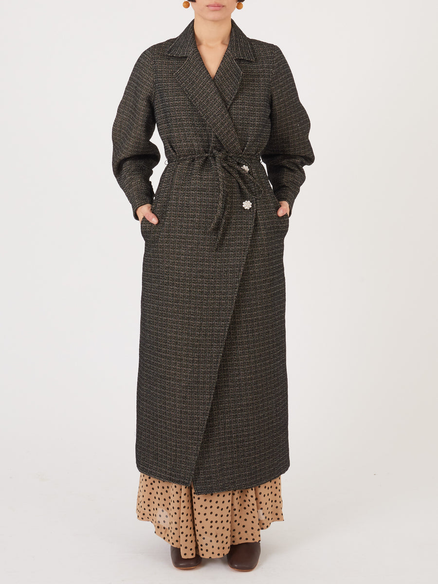 Ganni-Black-Slub-Suiting-Coat-on-body