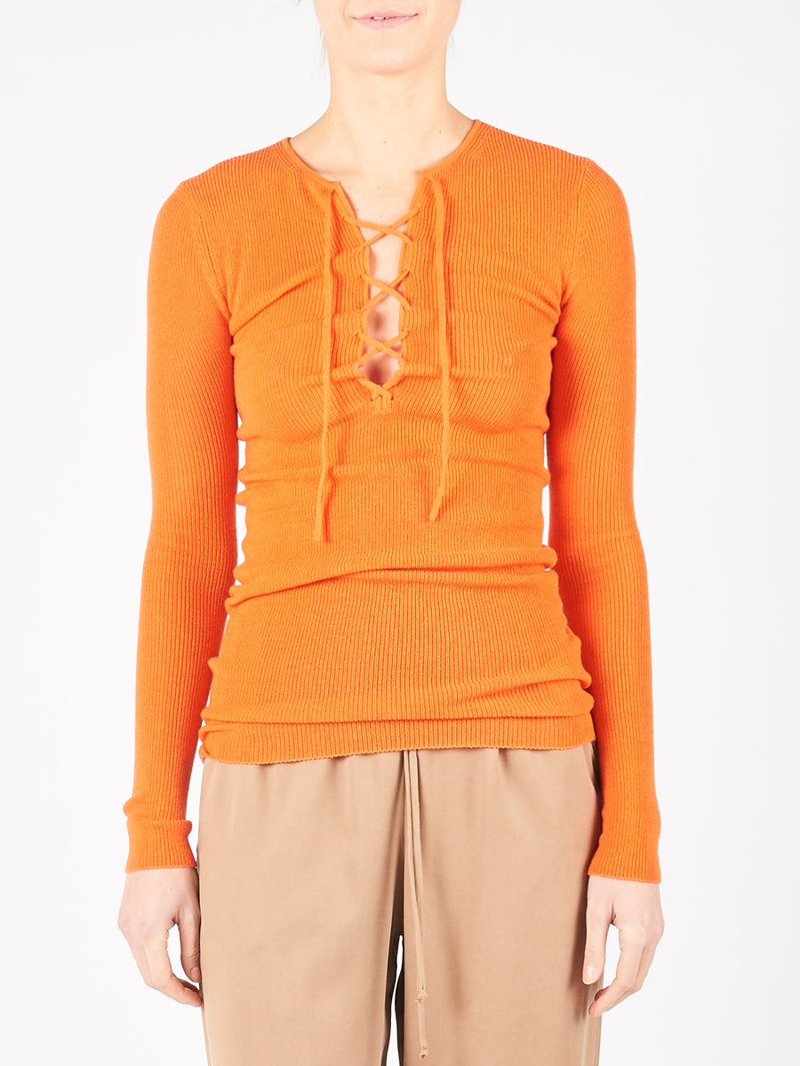 Flame Knit Fitted Blouse