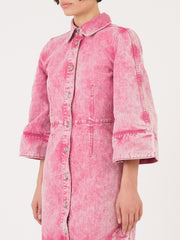 Ganni-Fuchsia-Washed-Denim-Dress-on-body