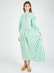 Kelly Green Stripe Smock Dress