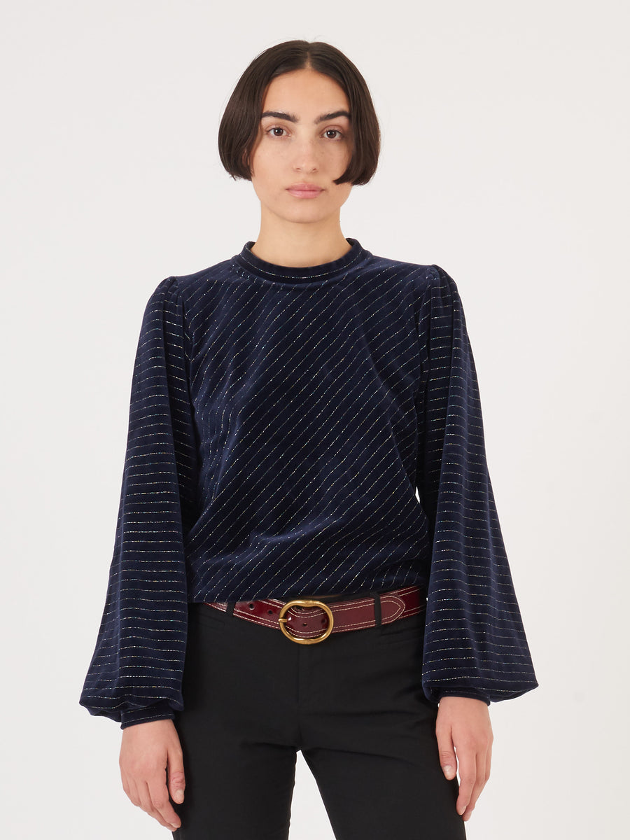 Ganni-Total-Eclipse-Velvet-Lurex-Sweatshirt-on-body