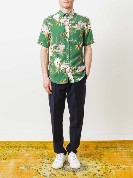 Green Short Sleeve Aloha Shirt