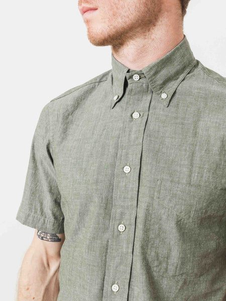 Olive Short Sleeve Japanese Chambray