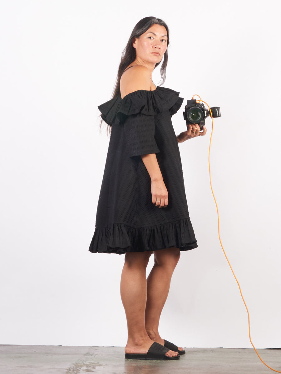 henrik-vibskov-black-seersucker-floss-dress-on-body