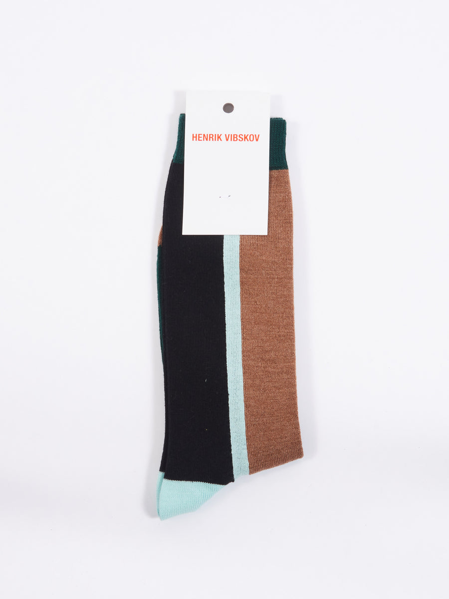 Brown Front Block Socks Homme