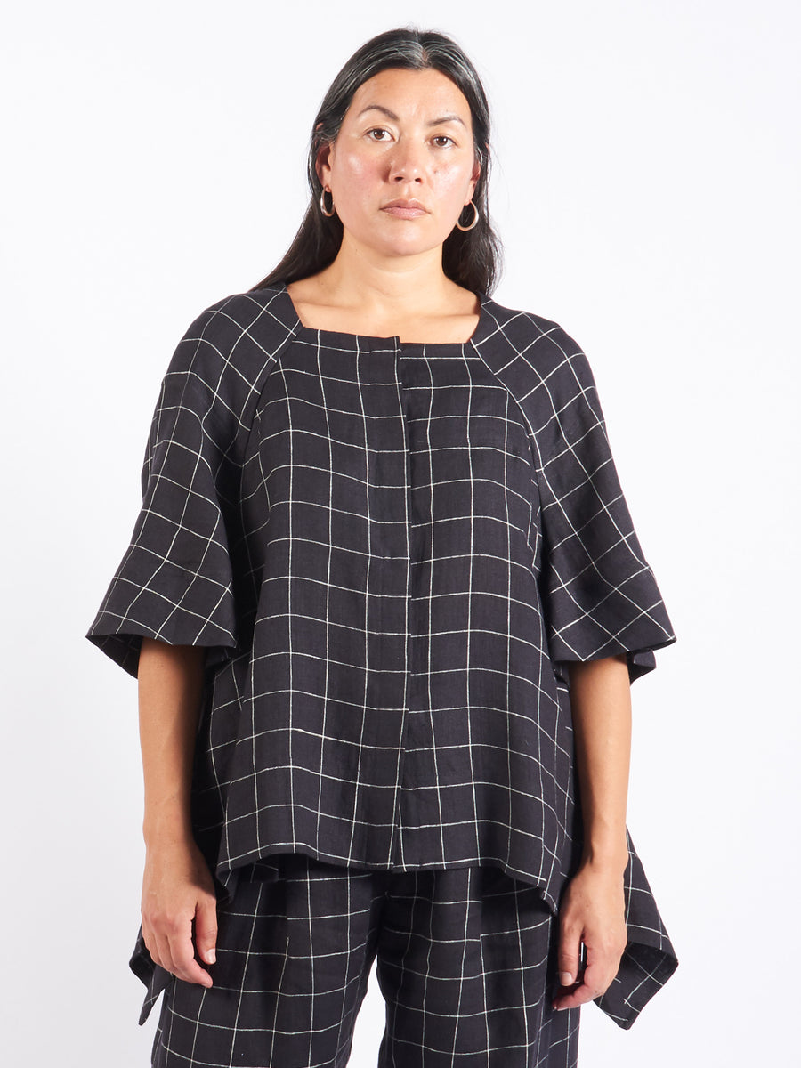 henrik-vibskov-dark-grey-check-love-song-blouse-on-body