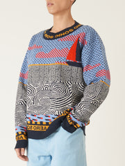 Henrik-Vibskov-Navy/Red-Sail-Sweater-on-body