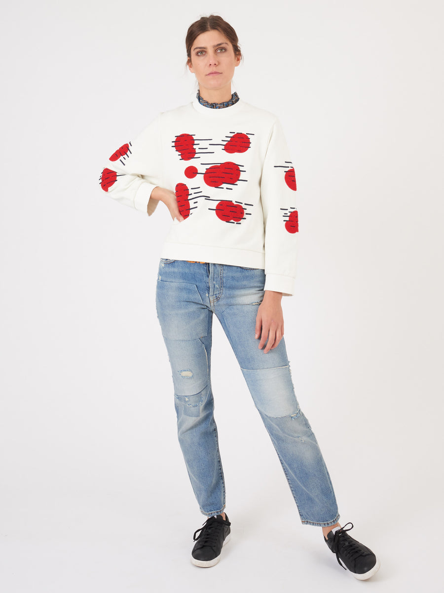 henrik-vibskov-red-blue-dot-stroke-sweatshirt-on-body