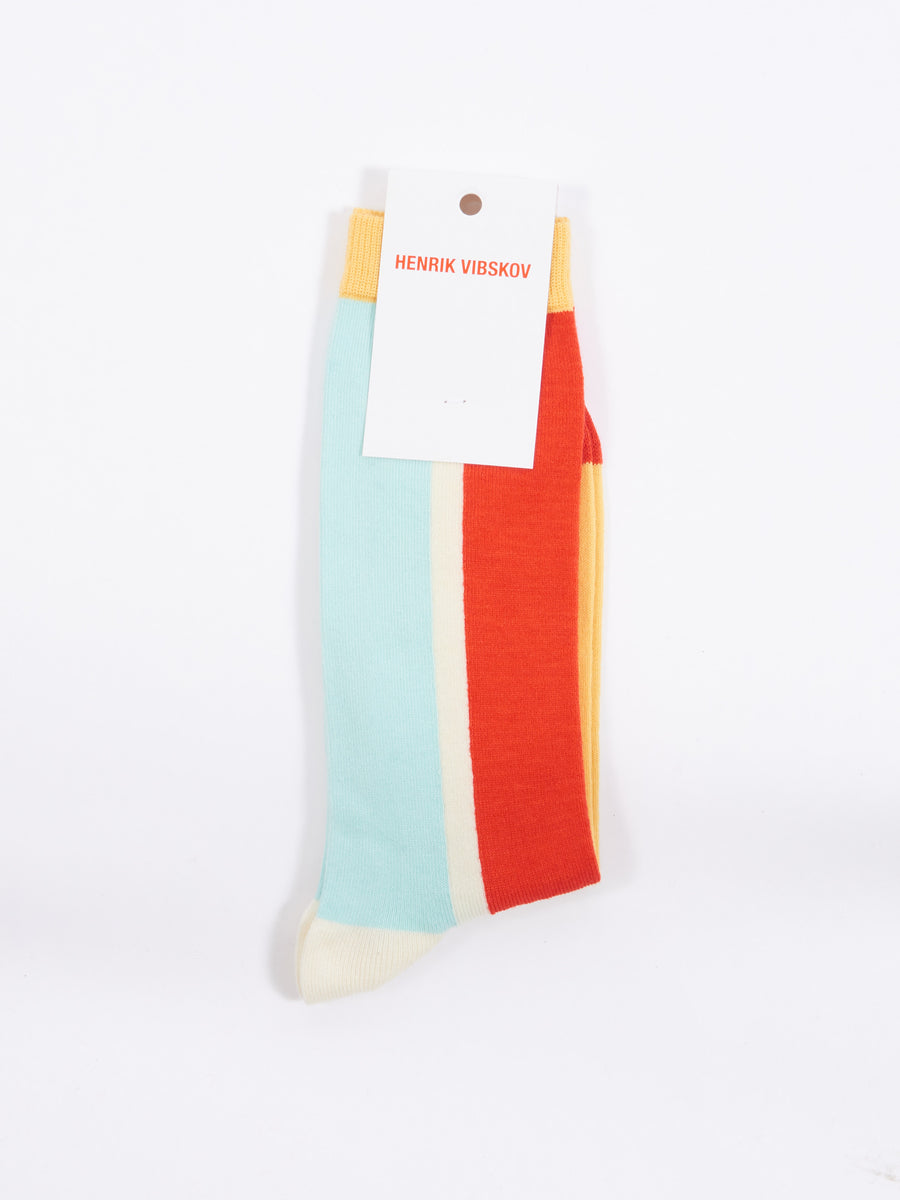 Red Front Block Socks Homme