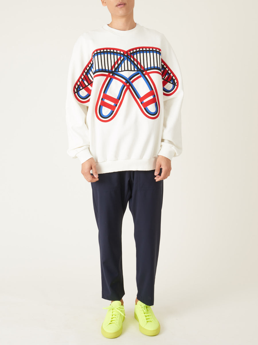 Henrik-Vibskov-White-Boomerang-Sweatshirt-on-body