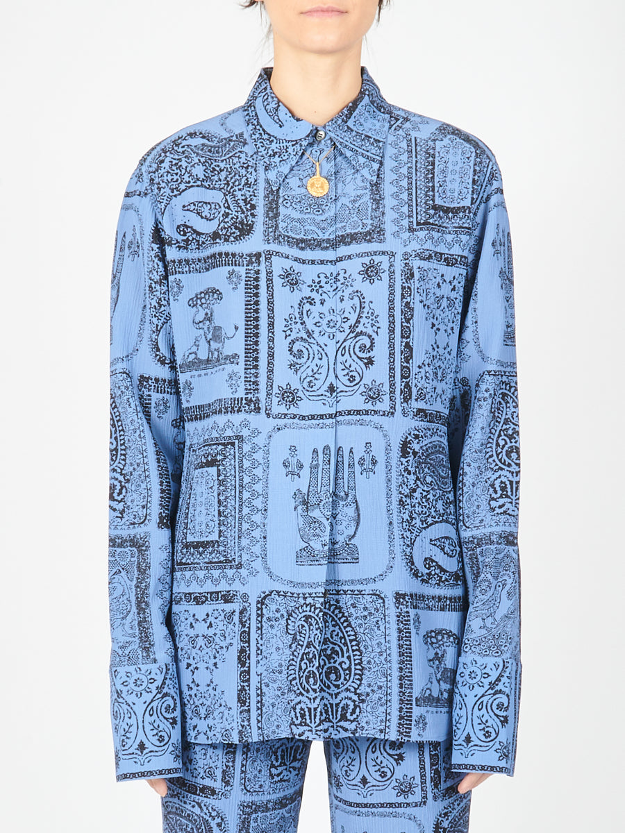 Indigo Blue Printed Shirt